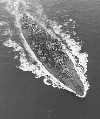 Nevada-class battleship - Aerial view of USS Nevada after her 1942 modernization