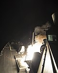USS Ross fires a tomahawk land attack missile April 7, 2017. (33049636864).jpg