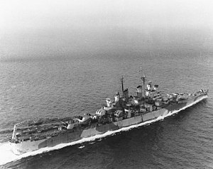 USS Topeka (CL-67) - Image: USS Topeka (CL 67) underway at sea in March 1945 (80 G 313910)