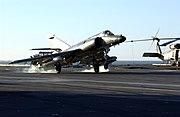 "US Navy 040617-N-9319H-762 An Argentine Navy Dassault Super Etendard jet aircraft comes in for a ""touch and go"" landing on the flight deck of the Nimitz-class aircraft carrier USS Ronald Reagan (CVN 76)"
