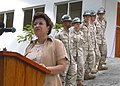 US Navy 070131-N-1328C-035 MacSuzy Mondon, Seychelles Minister of Health speaks of her appreciation for the Seabees assigned to Naval Mobile Construction Battalion Five (NMCB-5) and their success in constructing a new mortuary.jpg
