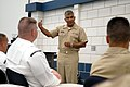 US Navy 080710-N-9818V-137 aster Chief Petty Officer of the Navy (MCPON) Joe R. Campa Jr. talks with Manpower, Personnel, Training and Education (MPT^E) Navy Counselors.jpg