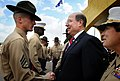 US Navy 081212-N-5549O-048 Secretary of the Navy (SECNAV) the Honorable Dr. Donald C. Winter greets a drill instructor during a basic training graduation at Marine Corps Recruit Depot San Diego.jpg