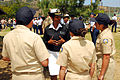 US Navy 090428-N-0890S-146 Cmdr. Lenora Langlais, medical officer recruiter for Navy Recruiting District San Diego, speaks with members of the La Habra High School Navy Junior ROTC program.jpg