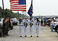 US Navy 090716-N-2570W-006 The Fleet Area Control Surveillance Facility, Virginia Capes color guard parades the colors during a pass-in-review ceremony at the Navy Dare Bombing Range in Dare County, N.C. during the range's annu.jpg