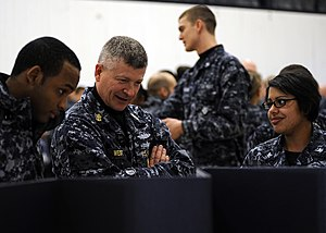 US Navy 120119-N-OO332-035 Master Chief Petty Officer of the Navy (MCPON) Rick D. West talks with Sailors assigned to the aircraft carrier USS Theo.jpg