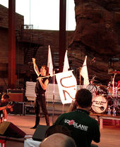 "A man in black attire stands on a concert stage. With his left hand, he is holding a large white flag bearing the text ""U2"", while holding his right fist in the air. A red cliff is visible behind the stage."