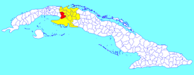 Unión de Reyes municipality (red) within  Matanzas Province (yellow) and Cuba