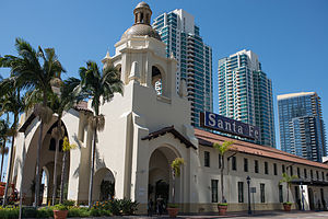 Santa Fe Depot (San Diego) - Union Station from Broadway, San Diego, California