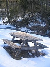 A wooden picnic table in the snow, with a small stream and bare and conifer trees in the background