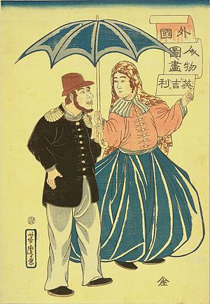 Utagawa Yoshitora - Image: Utagawa Yoshitora (1860) English Couple (crop)