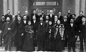 Martha Hughes Cannon - The Utah State Senate in 1897, Dr. Martha Hughes Cannon standing to the left of center.