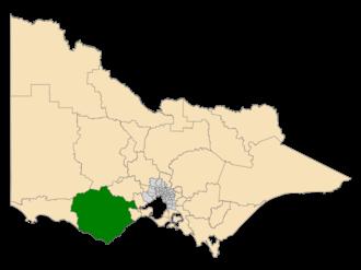 Electoral district of Polwarth - Location of Polwarth (dark green) in Victoria