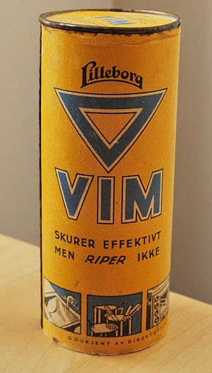 Vim (cleaning product) - Can of VIM scouring powder from Norway.