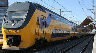 Rail transport in the Netherlands - NS VIRM double-deck train at Amsterdam Bijlmer ArenA Station.