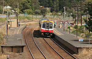 VLine Sprinter arrives at Wandong, Victoria.jpg