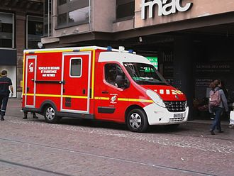 Emergency medical services in France - Casualties' Rescue and Assistance Vehicle (VSAV) of the French fire service in Strasbourg, France.