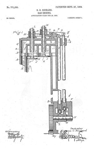 Overhead valve engine - Valve-In-Head engine, illustration from 1904 patent, Buick Manufacturing Company