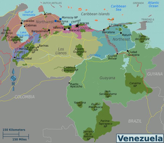 Kaart van Venezuela