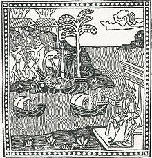 Gravure représentant un roi siégeant sur son trône et ordonnant le départ de trois caravelles vers un pays sur lequel se trouvent de nombreux hommes et femmes dénudés et des palmiers.