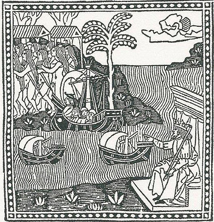 Woodcut depicting Italian explorer Amerigo Vespucci's first voyage (1497-98) to the New World, from the first known published edition of Vespucci's 1504 letter to Piero Soderini. Vespucci's first voyage, from Letter to Soderini.jpg