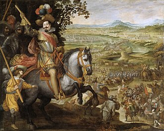 Victory of the Spanish troops led by the Duke of Feria, at the city of Konstanz, during the Thirty Years' War, 1633. Oil on canvas by Vicente Carducho, 1634. Vicente Carducho, Socorro de la plaza de Constanza..jpg