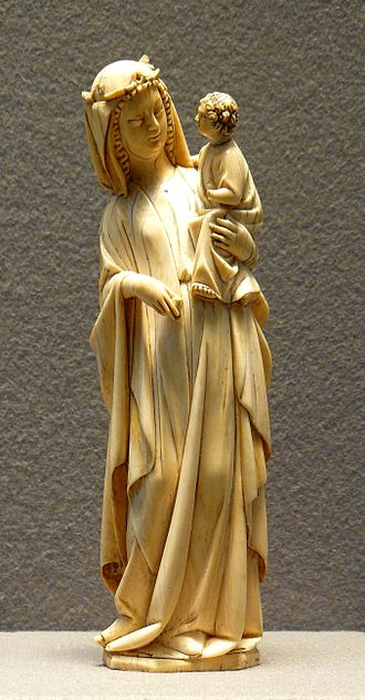 Ivory - A depiction of the Blessed Virgin Mary and the Child Jesus crafted in elephant ivory