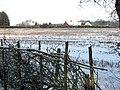 View across fields towards houses by Bramerton Road-Cross Lane junction - geograph.org.uk - 1653628.jpg