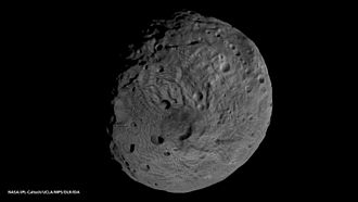 4 Vesta - South pole of Vesta, showing the extent of Rheasilvia crater.