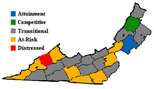 "Southwest Virginia - Map showing 2001-2003 ARC economic designations for counties and cities in ""Appalachian"" Virginia."