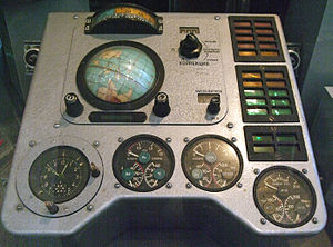 "Vostok 1 - Part of the Vostok 1 instrument panel prominently displaying the ""Globus"" navigation instrument"