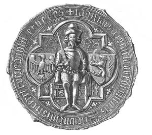 Vladislaus II of Opole - Ducal seal Ladislaus Dei Gracia Dux Opoliensis Wieloniensis et Terre Russie Domin et Heres (ca. 1387)