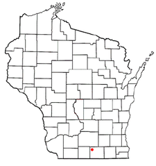 Location of Evansville, Wisconsin