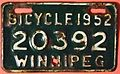 WINNIPEG, MANITOBA 1952 -BICYCLE PLATE - Flickr - woody1778a.jpg