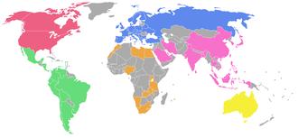 World Pool-Billiard Association - Image: WPA map
