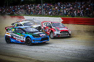 2015 World RX of France - Dubourg, Bakkerud, Marklund and Jeanney battle during Semi-Final 1