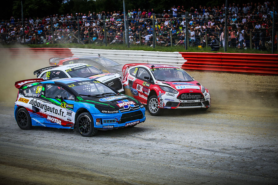 Jean-Baptiste Dubourg (87), Anton Marklund (92), Andreas Bakkerud (13) and Davy Jeanney (17) fight it out in semi-final #1 at Round 9 of the 2015 FIA World Rallycross Championship at Circuit de Lohéac, France.