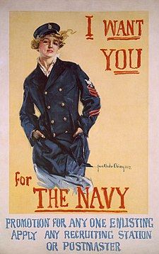 I want you for the Navy promotion for anyone enlisting, apply any recruiting station or postmaster: United States recruiting poster for women to enlist in the Navy, World War I.