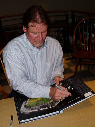 Wade Boggs - Boggs autographing the book Yankee Stadium at a book signing on September 23, 2008.