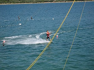 Wakeboarding - Cable wakeboarding on the island of Krk between the towns of Punat and Krk in Croatia.
