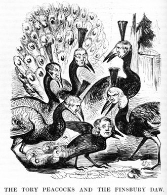 Thomas Wakley - Wakley as Jackdaw plucking feathers from the peacocks of his times. Punch 1841