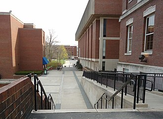 University of Rochester College of Arts Sciences and Engineering - Walkway between Rush Rhees library and the Frederick Douglass building.