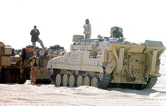 Warrior tracked armoured vehicle - FV513 Mechanised Recovery Vehicle (Repair) in a live fire training exercise, 6 January 1991.