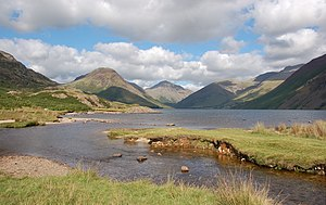 Great Gable - Head of Wasdale from Wastwater. Yewbarrow is on the left, Great Gable in the centre and the Scafell range on the right.