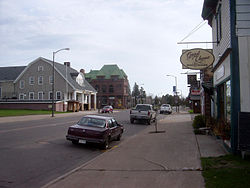 The main street (Bayfield Street / WIS 13) in downtown Washburn