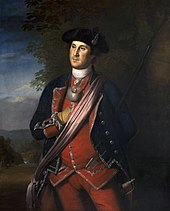 Painting of Washington, by Charles Wilson Peale, standing in a formal pose, in a colonel's uniform, with right hand inserted in shirt
