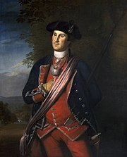 Painting of Washington, by Charles Wilson Peale, standing in a formal pose, in a colonel's uniform, right hand inserted in shirt.