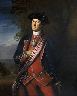 Virginia militia - This 1772 portrait shows George Washington in uniform, as colonel of the Virginia Militia.  Note, the navy blue regimental coat, worn by the Virginia Militia during the French and Indian War, which would later be adopted by the U.S. Army as the national uniform color.