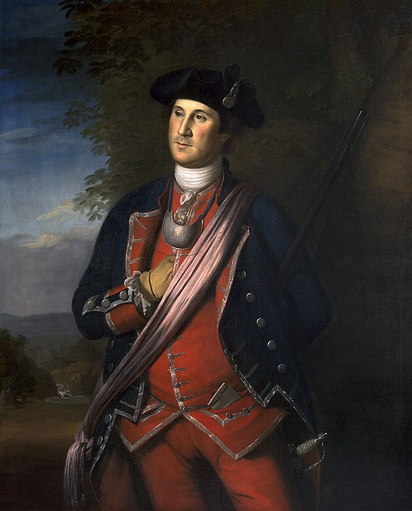 George Washington in 1772 as colonel of the Virginia Regiment; painting by Charles Willson Peale