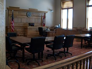 Washington County Courthouse (Arkansas) - Courtroom in which circuit court first met in April 1905.